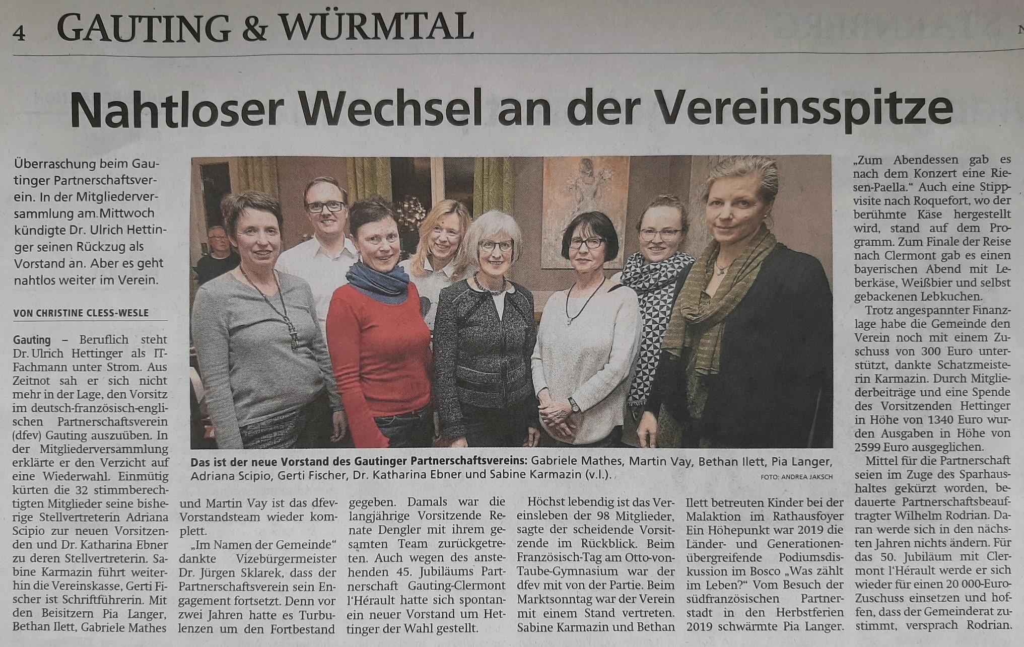 Bericht im Starnberger Merkur vom 2020-02-14; Neuer Vorstand im DFEV.