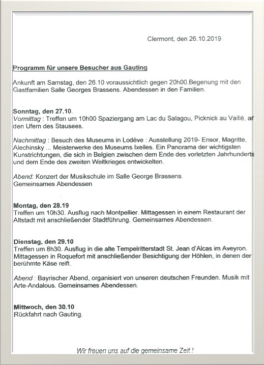 Fahrt nach Clermot l'Herault - Programm deutsch